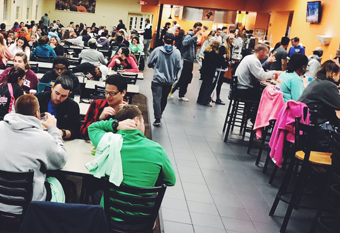 image of students at midnight breakfast