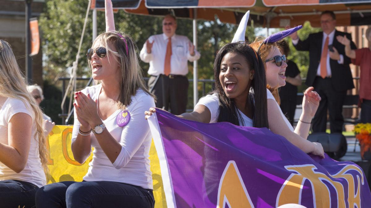 image of sorority members in homecoming parade