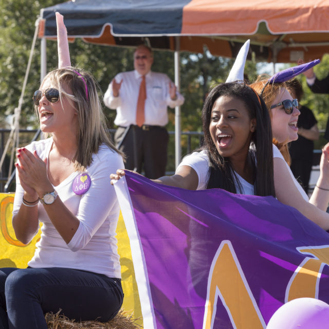 image of sorority members in homecoming parade