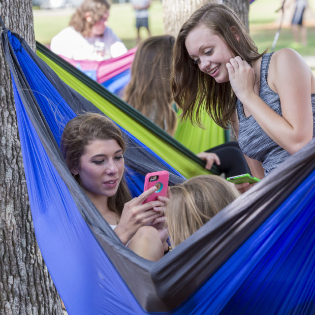 image of students in hammock on campus