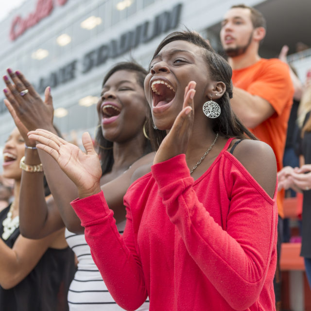 image of students cheering