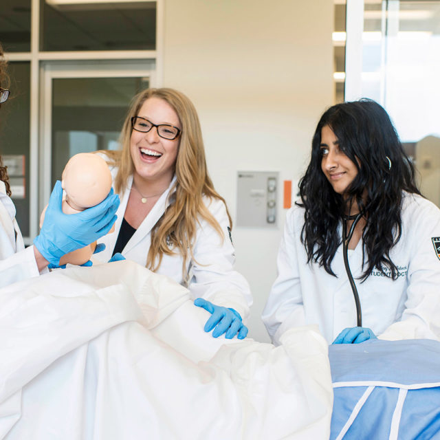image of students in birthing lab
