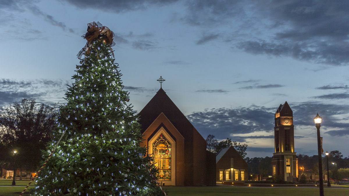 christmas tree and butler chapel