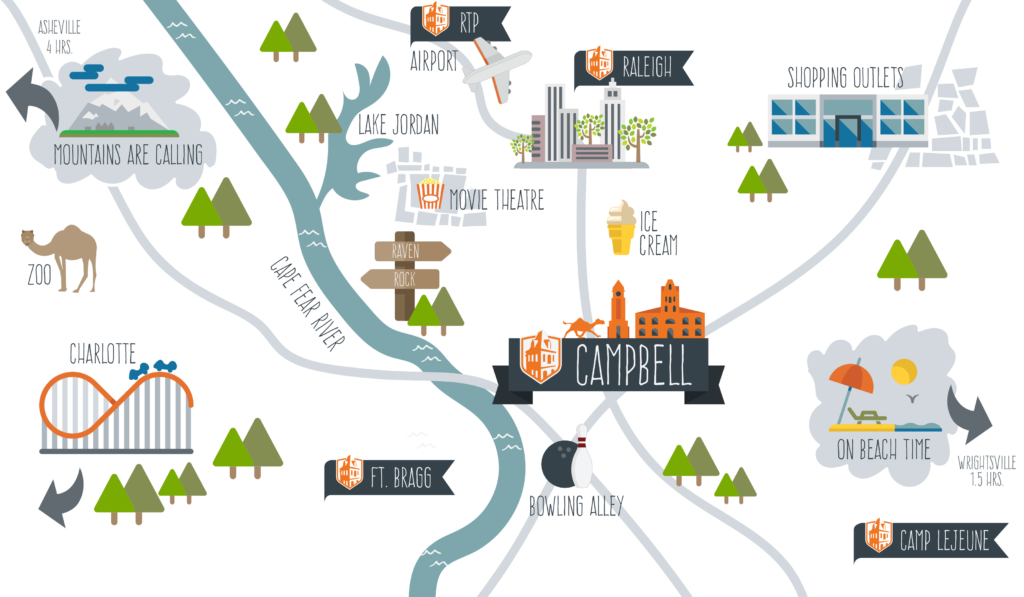 illustrated map of campbell and surrounding area