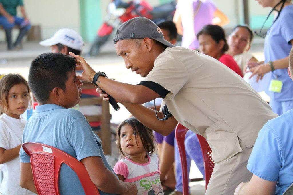 Child getting a health checkup