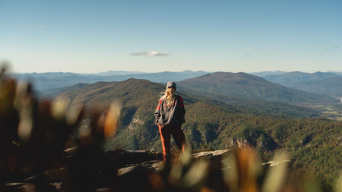 person hiking in North Carolina