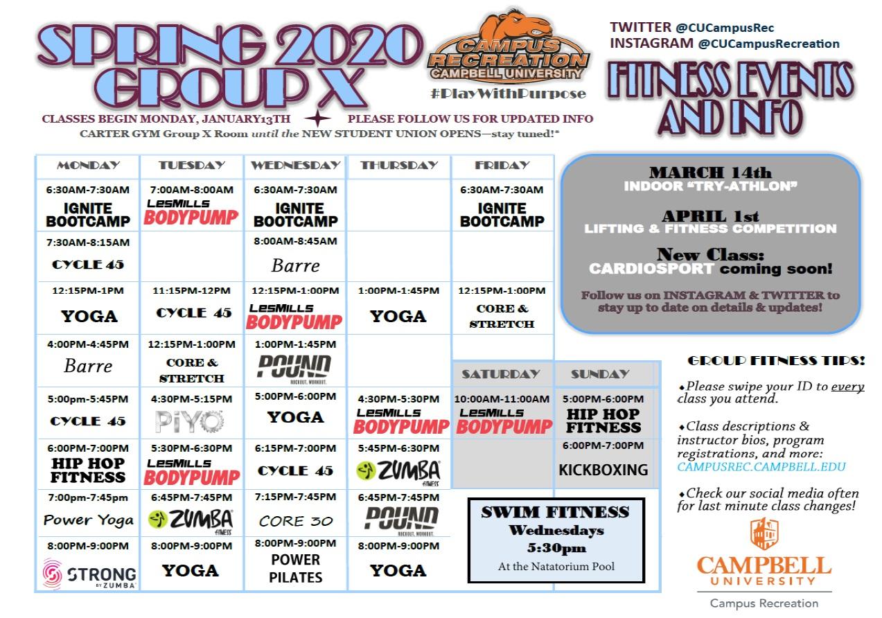 Fitness Center Schedule Spring 2020