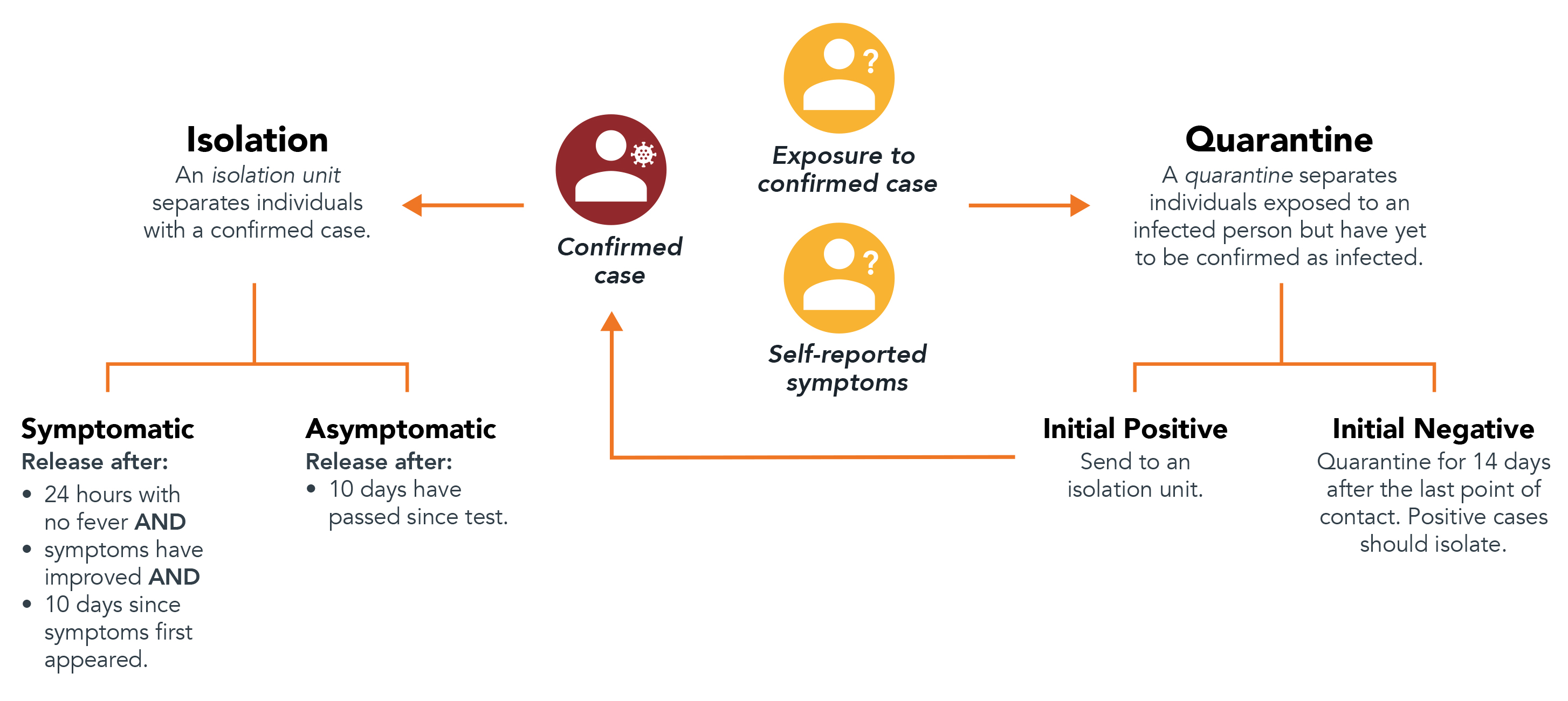 Diagram describing the steps students and employees should take if they test positive for COVID-19 or receive and exposure notification.