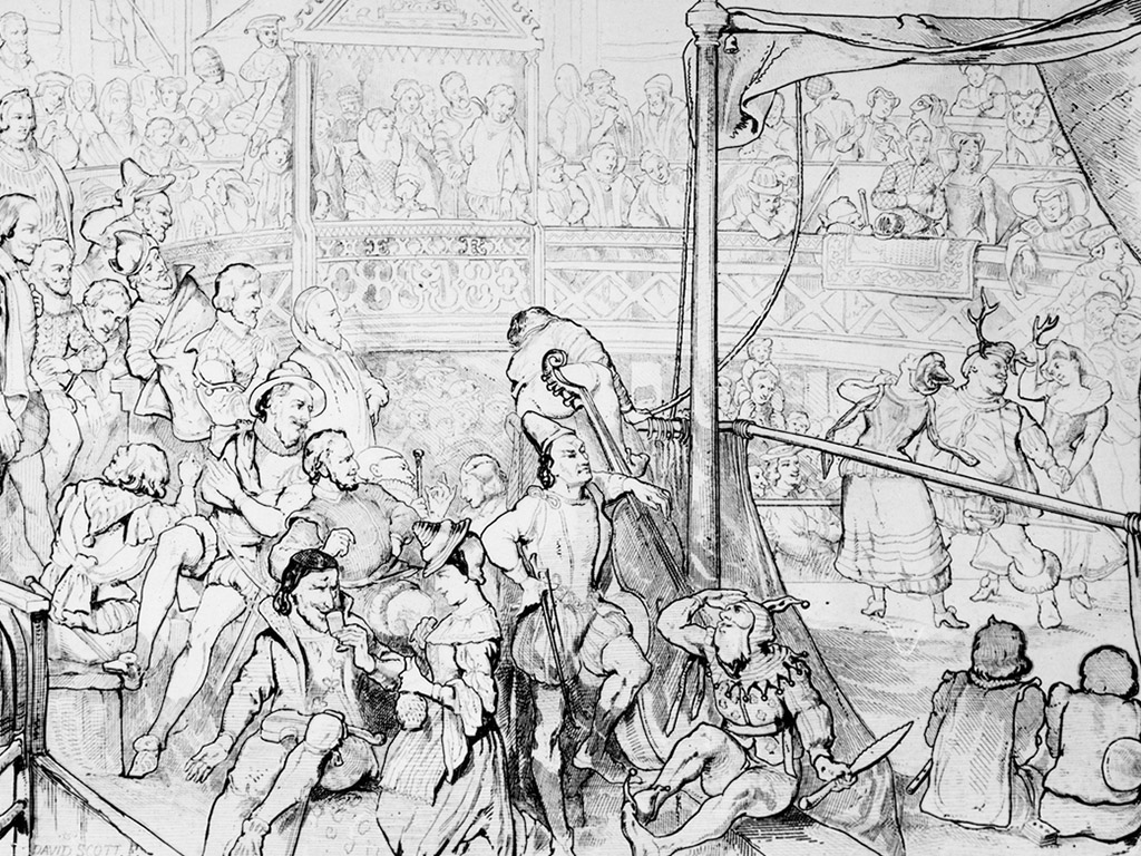 Drawing of spectators in a theater