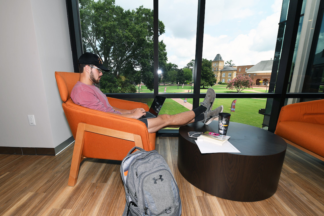 image of student sitting at the Union