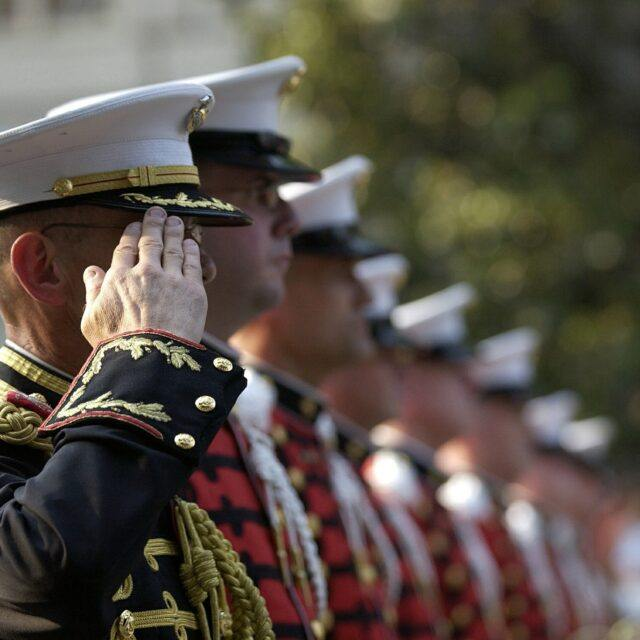 image of saluting soldiers