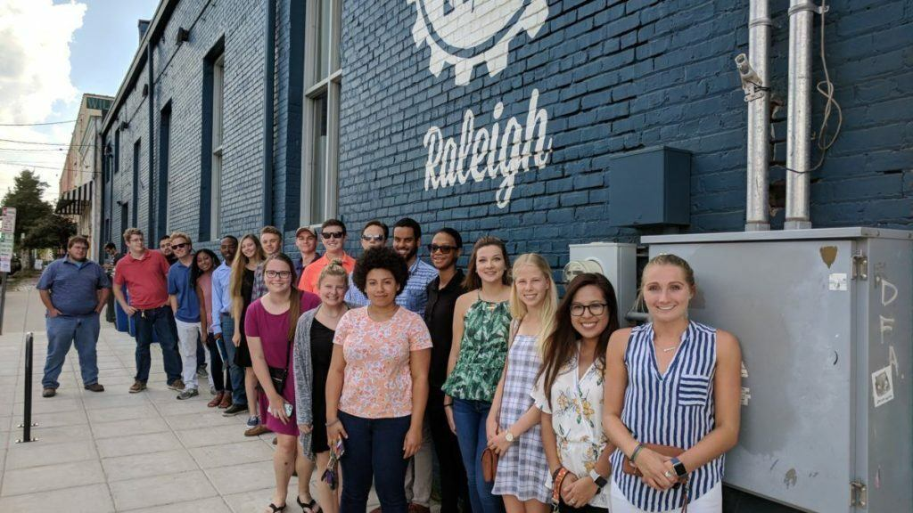 Students outside Raleigh Founded
