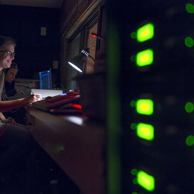 theatre arts student working behind the scenes