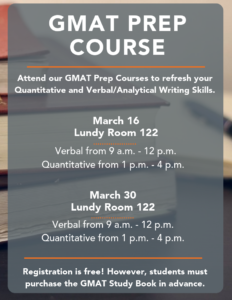 GMAT Prep Sessions Spring 2019