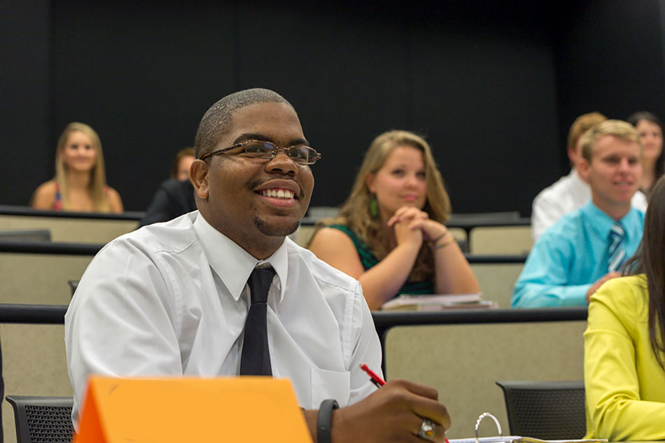 image of business student in class