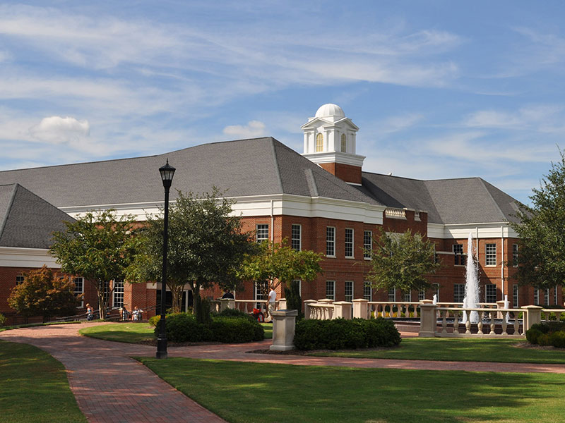 image of the exterior of the Campbell University School of Business