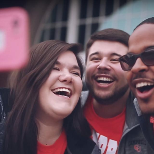 image of students taking selfie