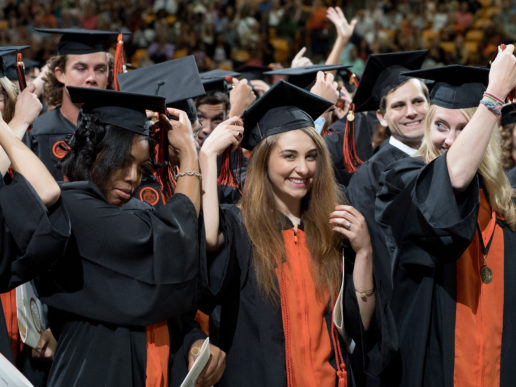 Students celebrate graduation by turning their tassels