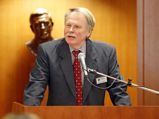 Photo of Campbell Law Dean Rich Leonard standing at a podium