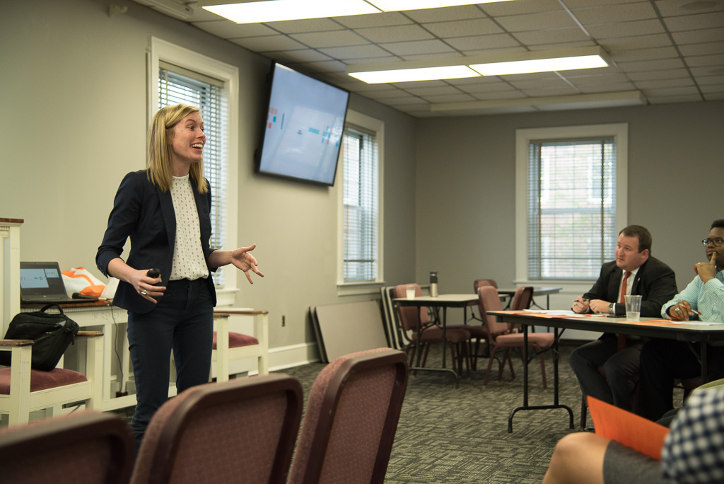 Morgan Dailey gives her winning presentation on the ways multimedia platforms can be used to promote healthcare.