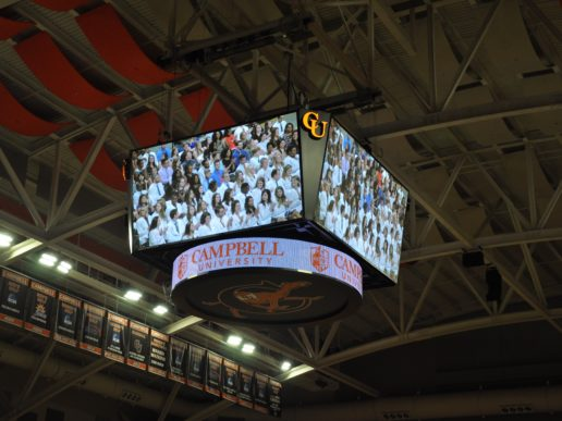 Students on jumbotron