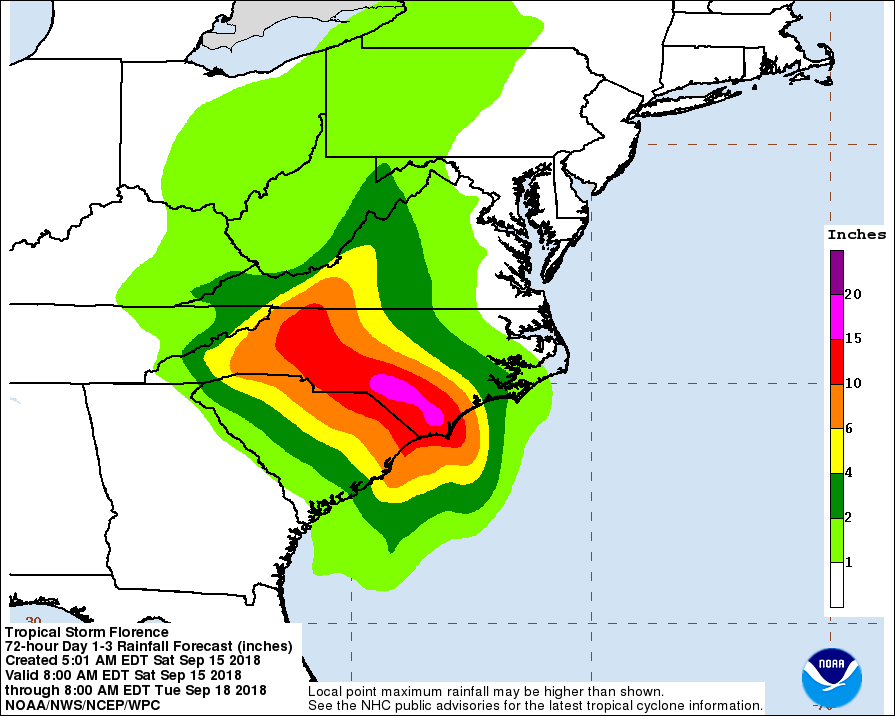 'Relentless rains' continue as Florence almost stalls over Carolinas
