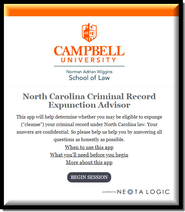 Graphic displaying words for NC Criminal Record Expunction Advisor Application