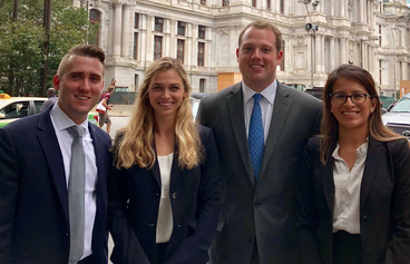 Adam Webb, Alex Puszczynski, Holden McLemore and Rosa Reyes represented Campbell Law at the Battle of the Experts at Drexel University School of Law on Oct. 6–8 in Philadelphia, Pennsylvania.