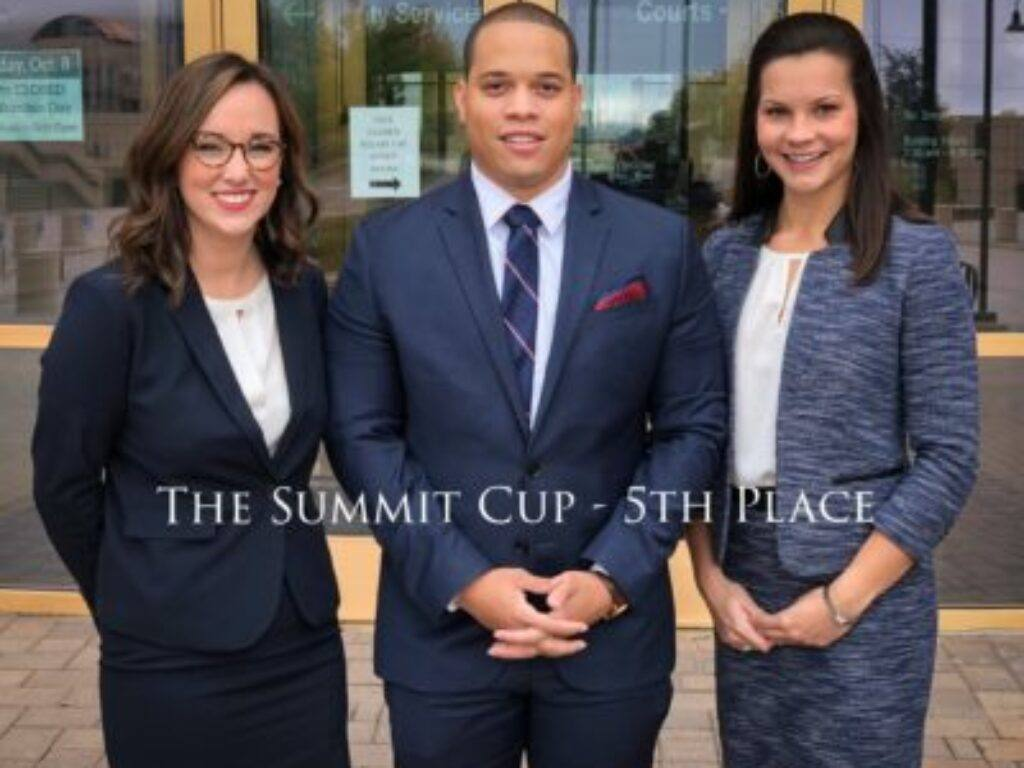 Photo of Lydia Stoney (2L), Kevin Littlejohn II (2L) and Alexis Massengill (2L) with the words The Summit Cup 5th Place