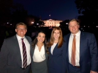 Photo of ABA Trial Competition team featuring third-year law students Alex Sefton and Ashley Urquijo and two-year law students Nicholas Tessener and Madeline Lipe