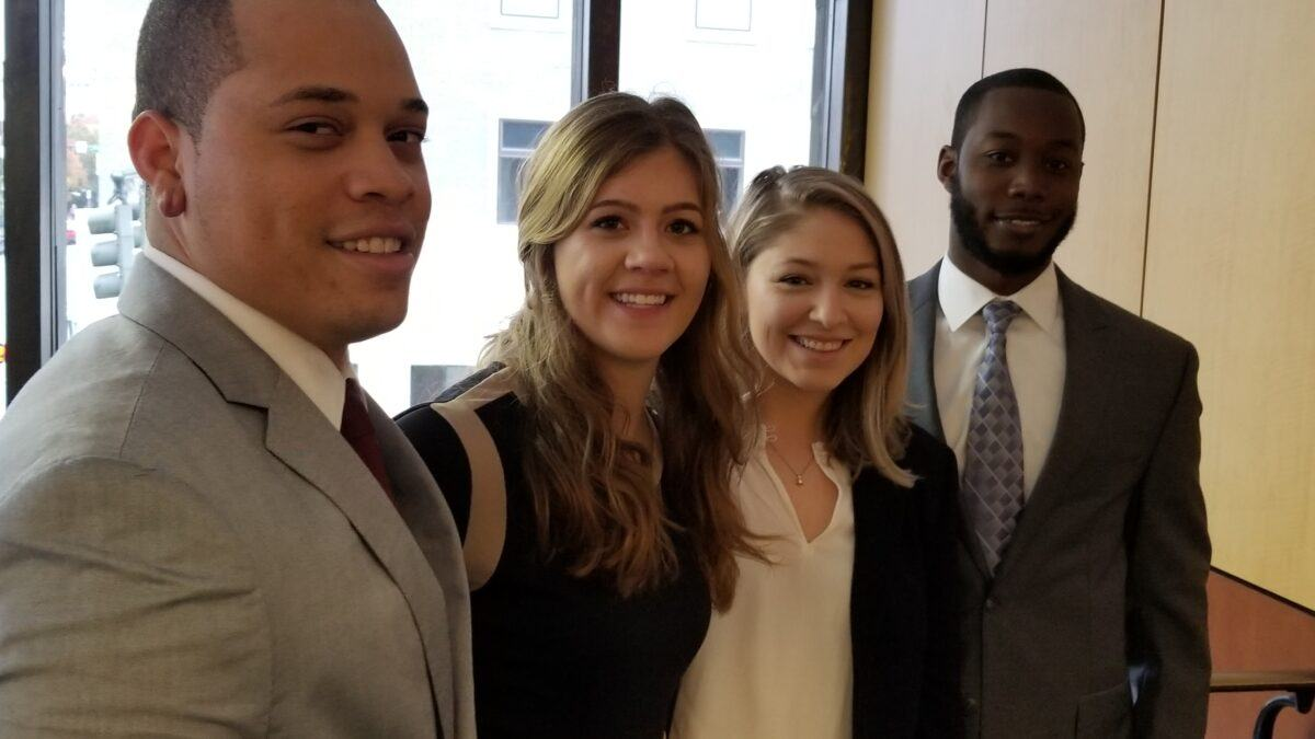 Second-year law students Kevin Littlejohn, Brooke Webber, Chamberlain Collier and Justin Hill compete in the 2018 ABA Regional Negotiation Competition at  Elon Law School in Greensboro on Nov. 10-11, 2018.