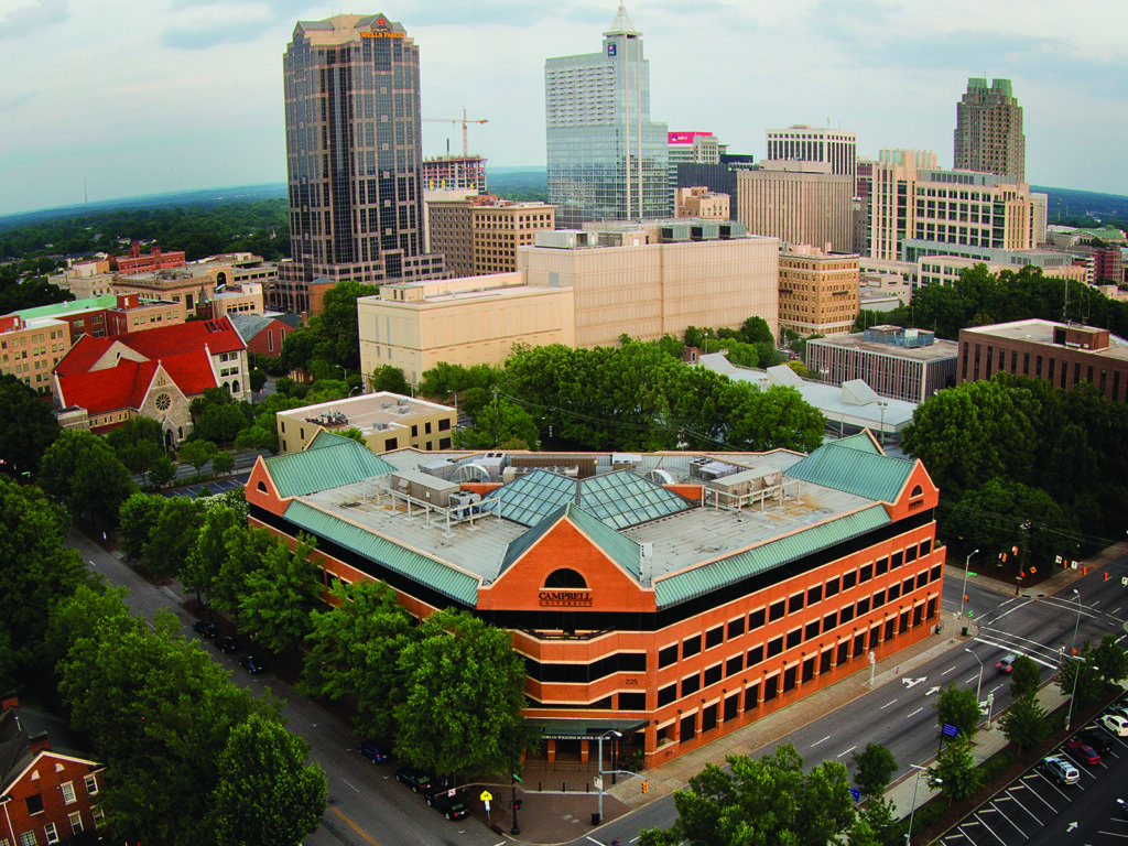 Photo of an aerial shot of Campbell University's downtown campus, home of Campbell Law School