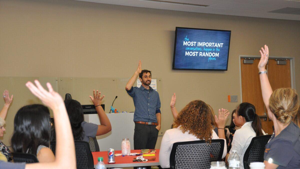 Raising hands during event