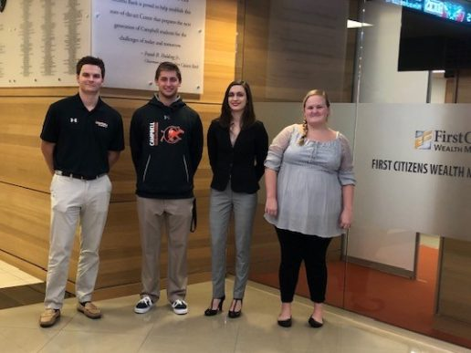 Campbell Business School winners in the 2018 Stock Market Game were, from left,  Phillip Simpson, Tyler Anshaw, Taylor Newman, and Mary Alice Whitaker.