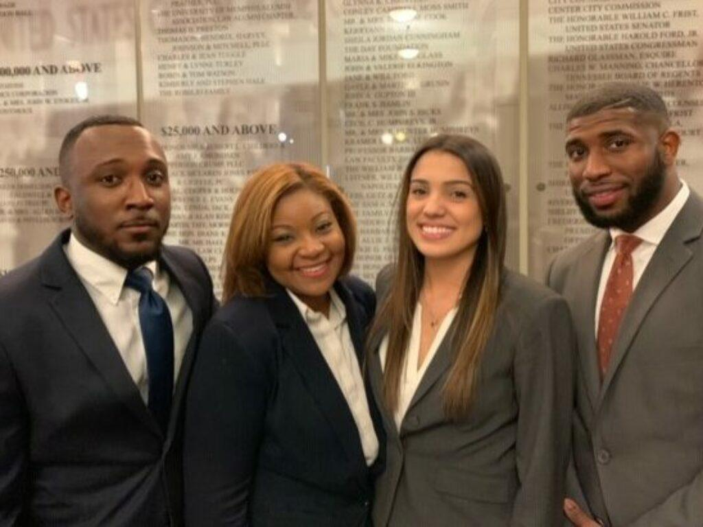 Photo of four members of the BLSA Regional Team competing in Memphis, Tennessee