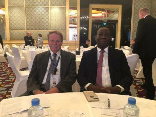 Photo of Dean J. Rich Leonard poses with Dean Kujo McDave of Cape Coast School of Law in Ghana.