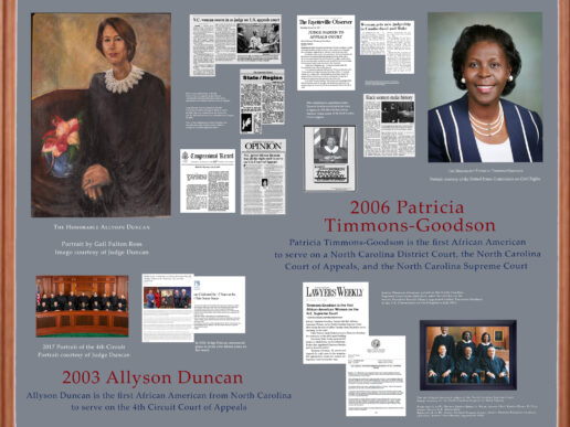 Photo of rendering of first African-American Judges Display Board featuring Judges Alison Duncan and PatriciaTimmons-Goodson