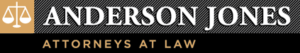 Graphic featuring scales of justice image and the words Anderson Jones Attorneys at Law logo