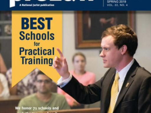 Cover of preLaw magazine featuring best schools for practical training