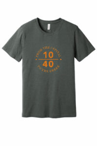 Photo of gray distressed t-shirt with orange 10/40 logo on front