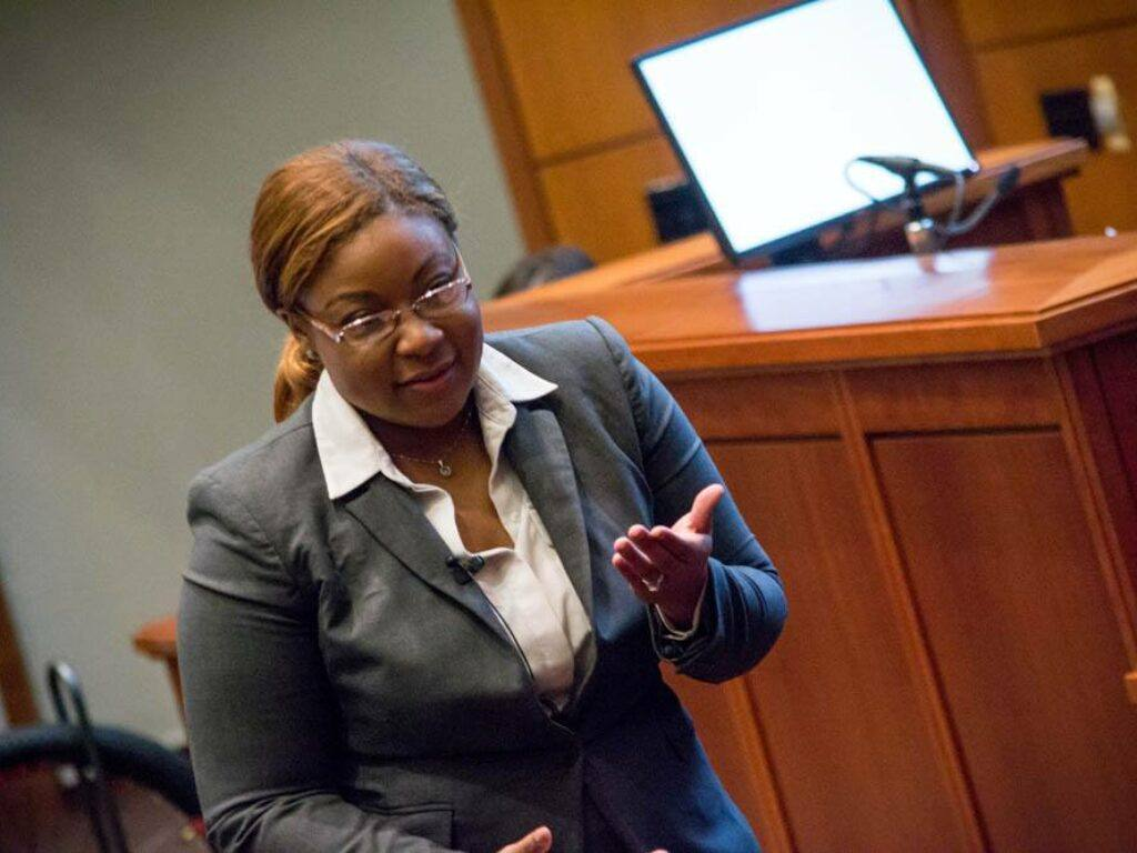 Photo of 2019 Top Gun Trial Ad winner Tatiana Terry arguing in courtroom