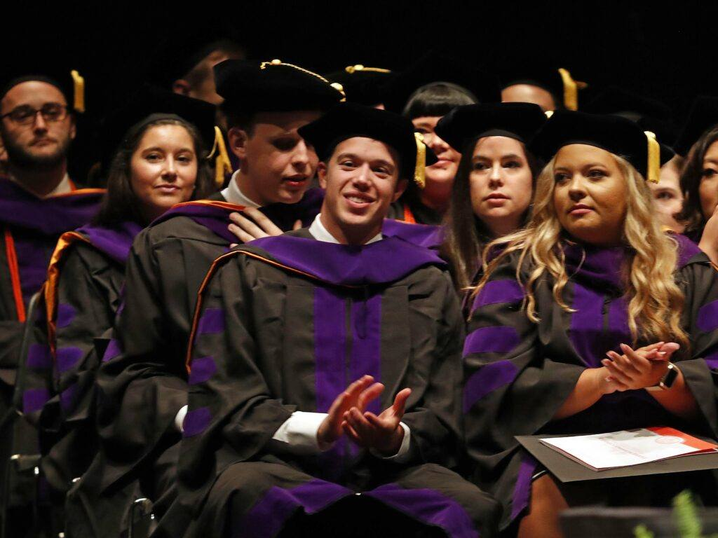 Photo of Campbell Law grads on stage