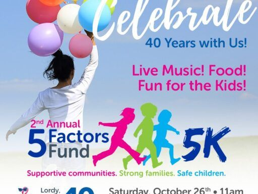Graphic with colorful balloons and children with words Celebrate 40 years with us 5 Factors Fund 5 K