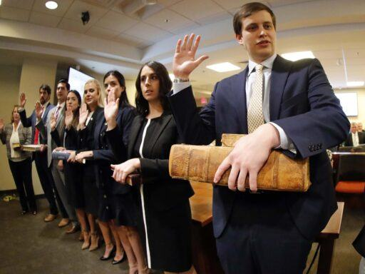 Photo of law alumni being sworn in to NC State Bar
