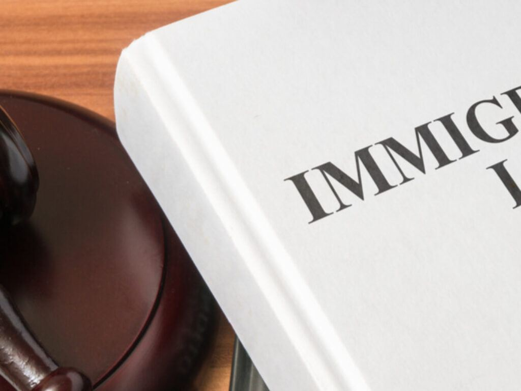 Photo of a judge's wooden gavel lying on a bench next to a white book wit the words Immigration Law and a scales of justice in black lettering