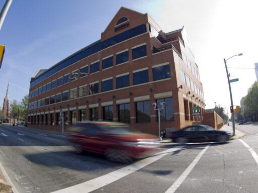 Photo of outside corner of law school