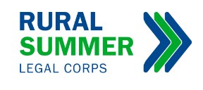 Graphic on white background with words Rural Summer Legal Corps in blue and green