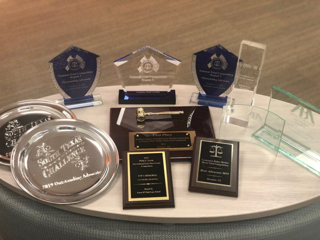 Photo of variety of mock trial and moot court awards