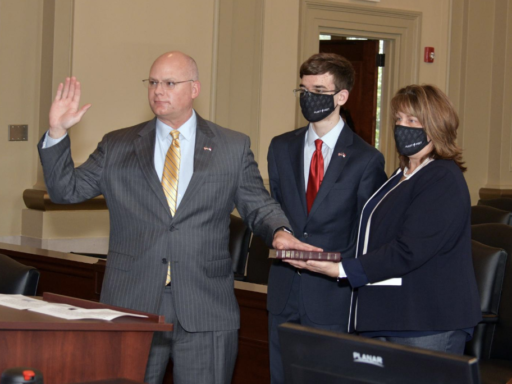 Photo of Judge Jackson being sworn in to the NC Court of Appeals