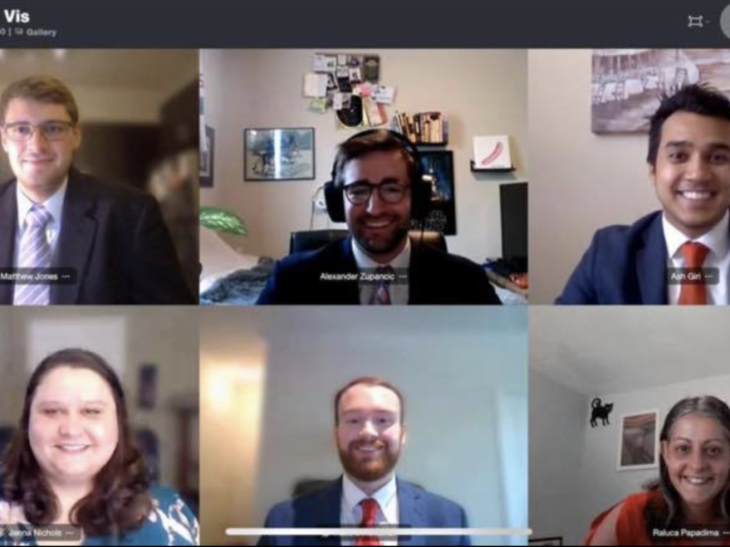 Photo of group of Campbell Law advocates competing on Zoom